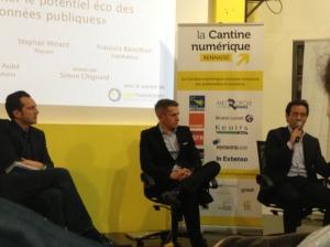Martin Duval, Stéphane Minard et Yann Aubé autour d'une table ronde sur le potentiel économique de l'Open-Data.